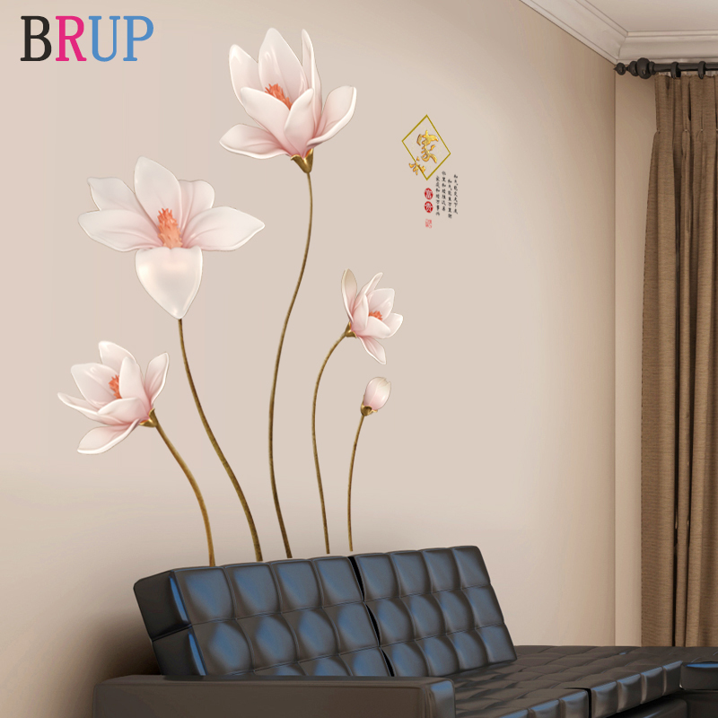 120*130cm Rich Flower Wall Stickers Large Size Beautiful Flower Art Wall Decals Chinese Style Home Decor For Bedroom Removable