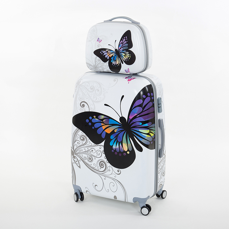 Hotsale! 14/20/24 abs pc 8-universal Wheels Female Butterfly Trolley Travel Suitcase/Luggage Bags Sets for Women wholesale 14 20 24 28inches pc butterfly travel luggage sets 4 pieces universal wheels trolley luggage sets for women