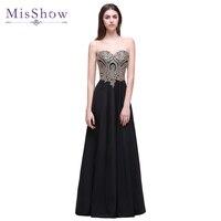 [Final Clear out] Robe De Soiree Longue 2018 Long Black Evening Dress Gold Lace Elegant Party Cheap Appliques Evening Gowns