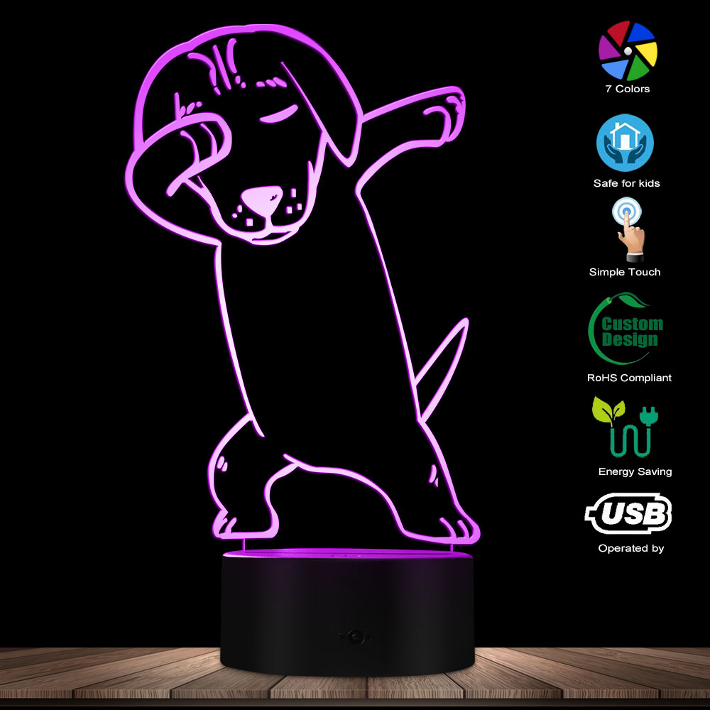 Bull Terrier Dog 3D Optical Illusion Light USB Night Lamp Dabbing Dog Glowing Dancing Pug LED Light Home Decor Desk Visual Lamp
