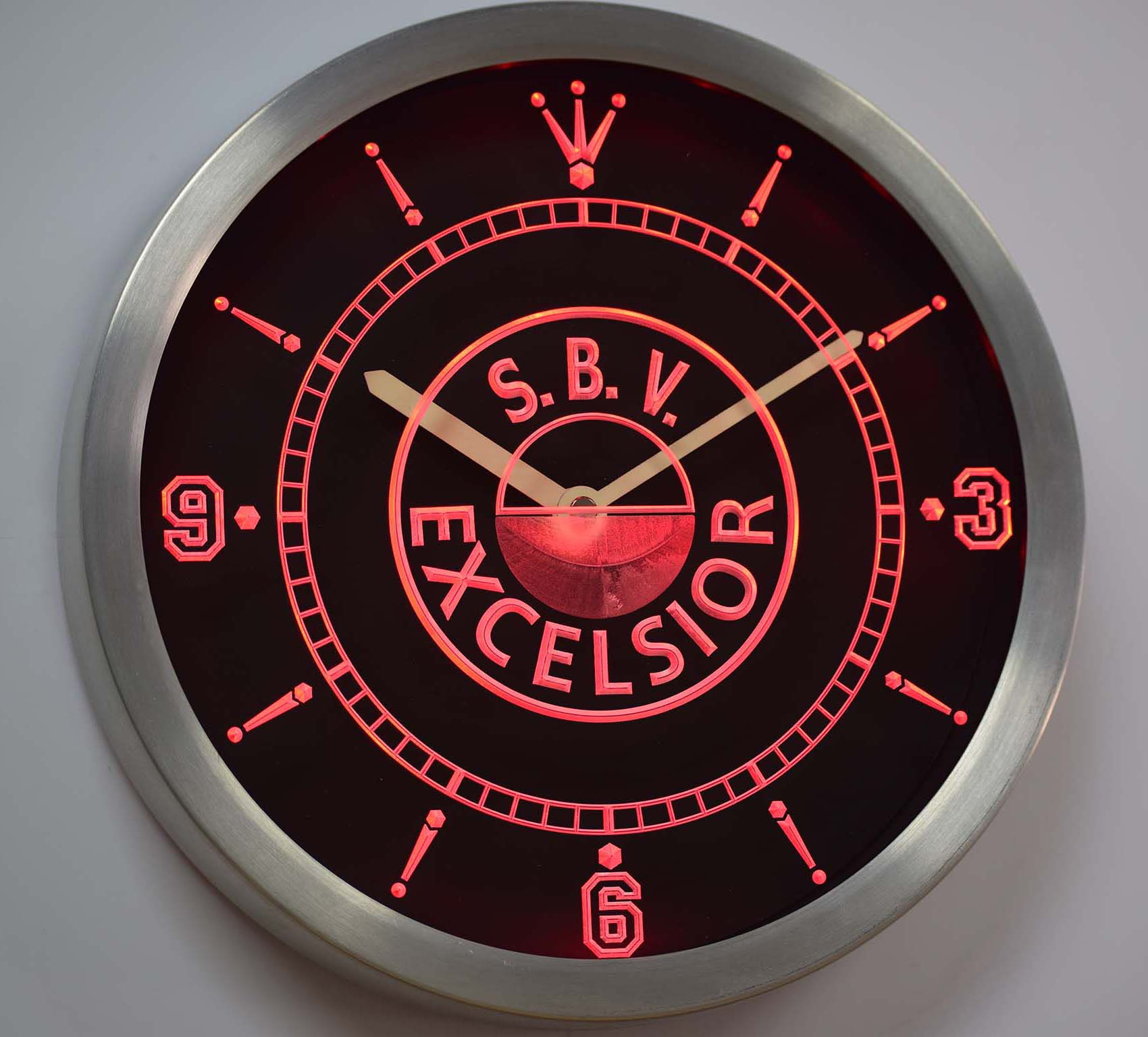 nc1022 S.B.V. Excelsior Dutch Eredivisie Football Neon Sign LED Wall Clock