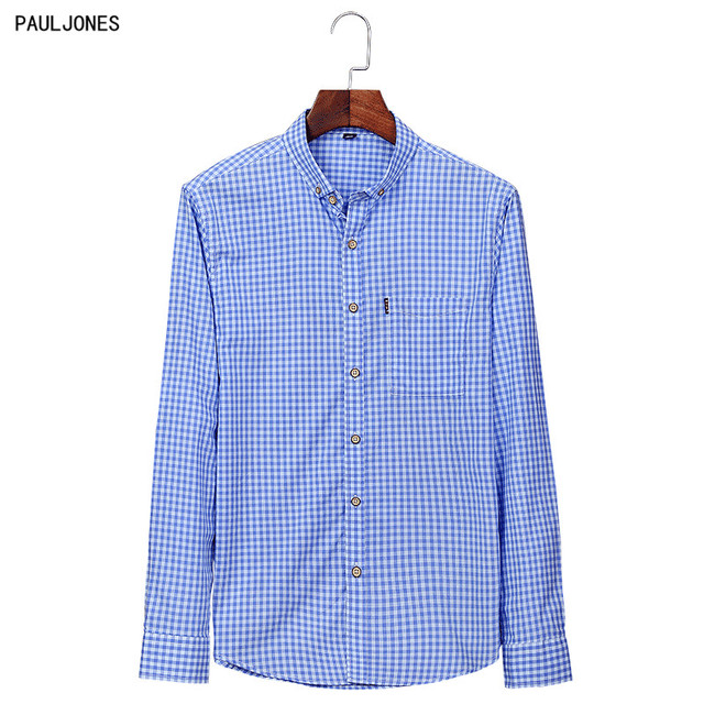 3705686f PAULJONES Long Sleeved Full Cotton Men Casual Plaid Shirts Fashion Button  Down Pin Checkered Man Social Shirts Red and White