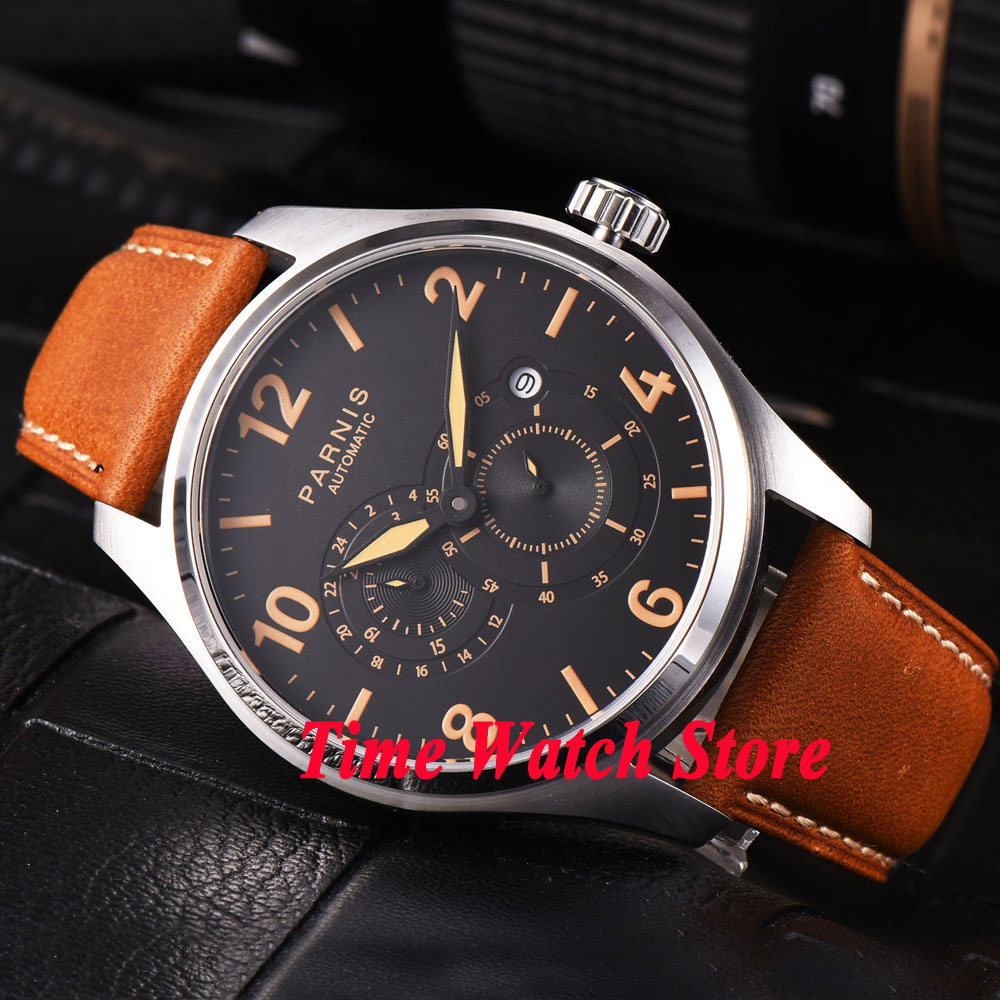 44mm Parnis sapphire glass orange marks luminous 24 hours MIYOTA Automatic movement men's watch men 815 44mm planca black dial luminous 24 hours miyota automatic movement men s watch men pl1