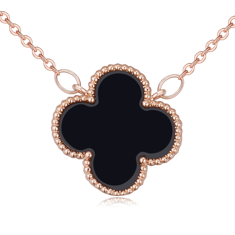 clover yellow four gold in necklace leaf