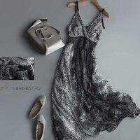 Летнее шелковое платье женское высококачественное элегантное с v образным вырезом праздничное натуральное шелковое пляжное платье спагет