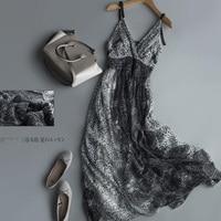 Summer Silk Dress Women High Quality Elegent V Neck Holiday Natural Silk Beach Spaghetti Strap Long Black dress Free Shipping