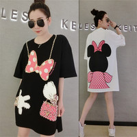 MUMUZI 2019 New Cute Mouse Dress for Women Loose black and white dresses beaded women clothing best quality cotton bow tops