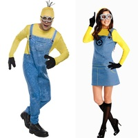 Minion Costume Halloween Adults women and men Jumpsuits + Glasses Party Clothes One Size