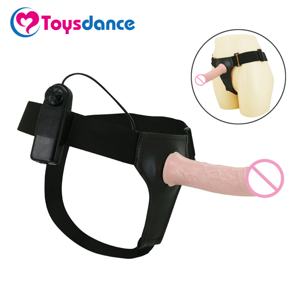 Toysdance Strap On Harness Dildo For <font><b>Lesbian</b></font> Women And Impotence Man Hollow Penis With Vibrator In the Head Adult Sex Products image
