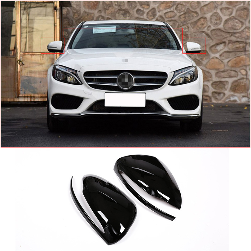 Gloss Black Car Rear View Rearview Mirror Cover Trim For Mercedes Benz E C S Class
