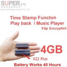 X22 4 GB MP3 player + cifrado de archivos de disco de memoria de la batería 40 Horas marca de tiempo grabadora de voz grabadora de audio de música reproductor de audio