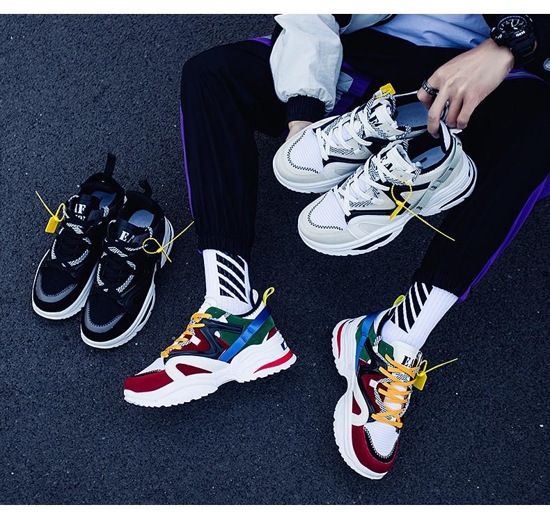 HTB1JZ9ELcfpK1RjSZFOq6y6nFXa7 BomKinta Stylish Designer Casual Shoes Men Yellow Sneakers Black White Walking Footwear Breathable Mesh Sneakers Men Shoes