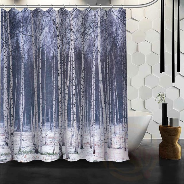 Best Nice Custom Birch Fores Shower Curtain Bath Waterproof Fabric For Bathroom MORE SIZE W23