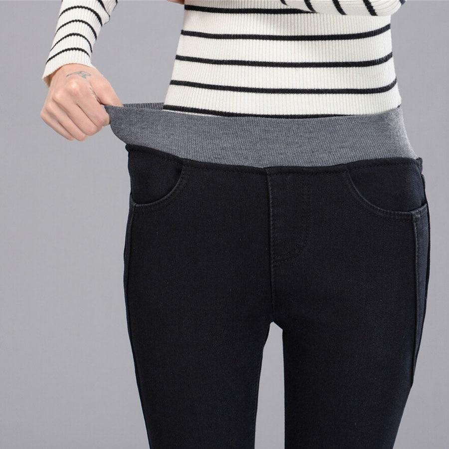 Spring Jeans High Waist Womens Pants Denim Black Elastic Waist Thin Trousers For -7421