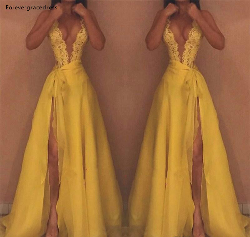 High Quality Yellow Evening Dresses Deep V Neck Lace Red Carpet Formal Holiday Wear Celebrity Party Gowns Plus Size Custom Made