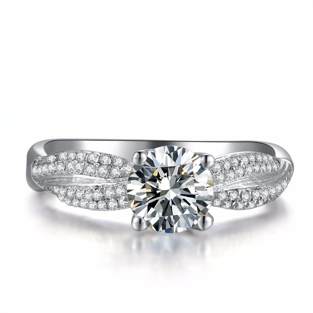 Oem Customized Unique 4prongs 2ct Sona Diamond Ring Engagement For Women  Sterling Silver Jewelry 18k White