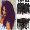 7a Peruano Curly Lace Frontal Encerramento Com Bundles Peruano Virgem Grampo de Cabelo encaracolado em cabelo Humano da Extensão Do cabelo Encaracolado Onda Profunda onda