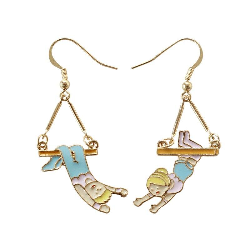 Japanese Cartoon Funny Cute Blue Pink Cloth Yellow Hair Enamel Boy and Girls Swing Drop Earrings For Women Girls Brincos