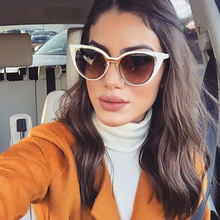 Okulary 2018 Trendy Hollow Cat Eye Sun Glasses Brand Designer Personality Sexy Cute Sunglasses For Women Ladies Vacation Oculos