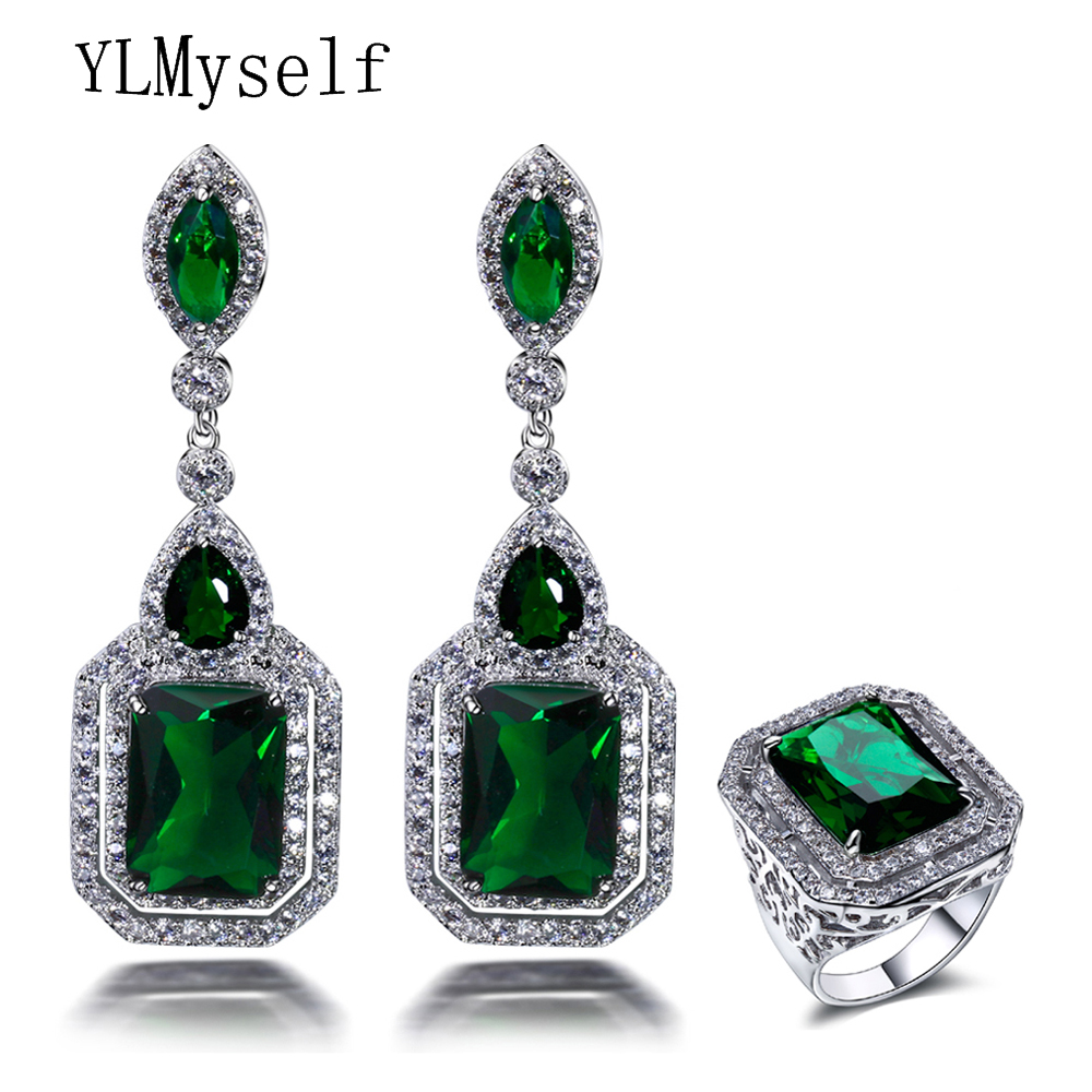 Wholesale price No minima quantity New party jewelry Fashion Big square shape with Green stone fashion ladies earrings ring sets wholesale price 16new ^^^^ewellery green stone inlay zircon earring pendant ring sets
