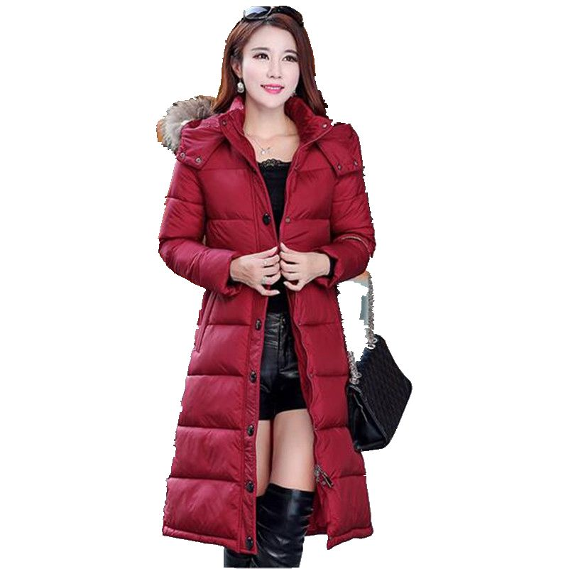 Medium long down jacket 2016 Latest Fashion Women Winter Hooded fur collar Super Keep warm Big