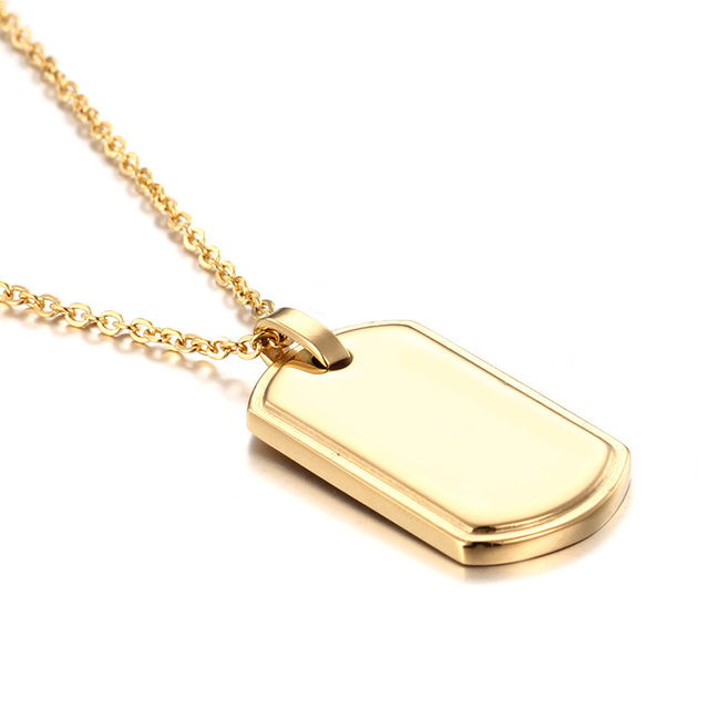 Brand New Charming Design Stainless Steel huge Dog tag Army Card Pendant  Men women s Gifts Necklace 24   Gold af97a5fa8a
