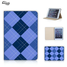 Tartan / Check Pattern Stand PU Leather case For apple Ipad Mini 1/2/3 Retina Tablet Case Cover Sleeve