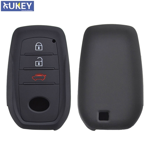 For Toyota Hilux Fortuner Land Cruiser Camry Silicone Remote Key Case Fob Shell Cover Skin Holder 3 Button 2016 2017 2018