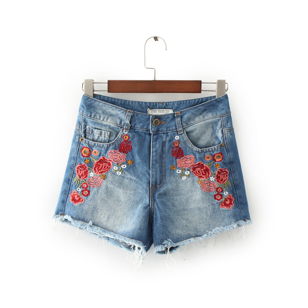 Freeshipping jeans woman jeans woman jeans femme 2017 cotton Floral embroidery burrs Bull puncher knickers