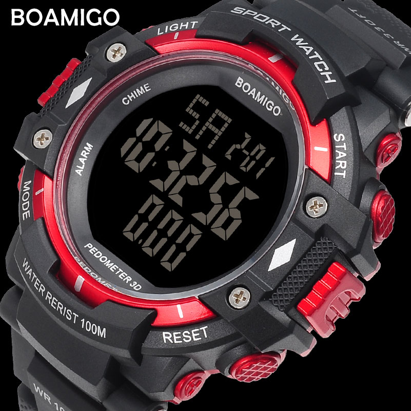Men's Watches Considerate 100m Water Resistant Men Sports Watches Boamigo Brand Pedometer Calories Led Digital Watches Swimming Wristwatches Reloj Hombre To Clear Out Annoyance And Quench Thirst