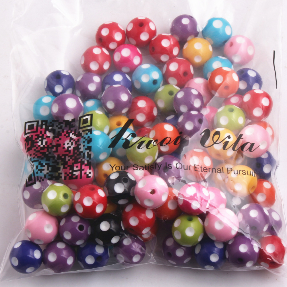 Image 5 - Kwoi Vita Colorful Fashion Jewelry 12mm/14mm/16mm/18mm/ 20mm/24mm Resin Polka Dot Beads for Chunky beads necklace Wholesales-in Beads from Jewelry & Accessories