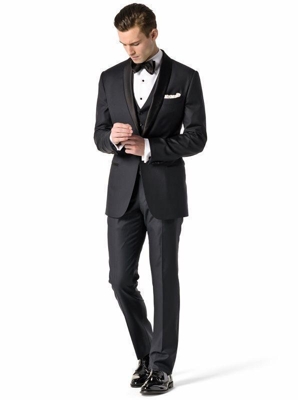 New Arrivals One Button Black Groom Tuxedos Shawl Lapel Groomsmen Best Man Wedding Prom Suits (Jacket+Pants+Vest+Tie)