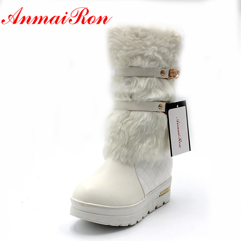 ANMAIRON Black White HOT! Fahion Winter Women Snow Boots For Lady Round Toe Wedges Mid-Calf boots Winter BIG SIZE warm shoes