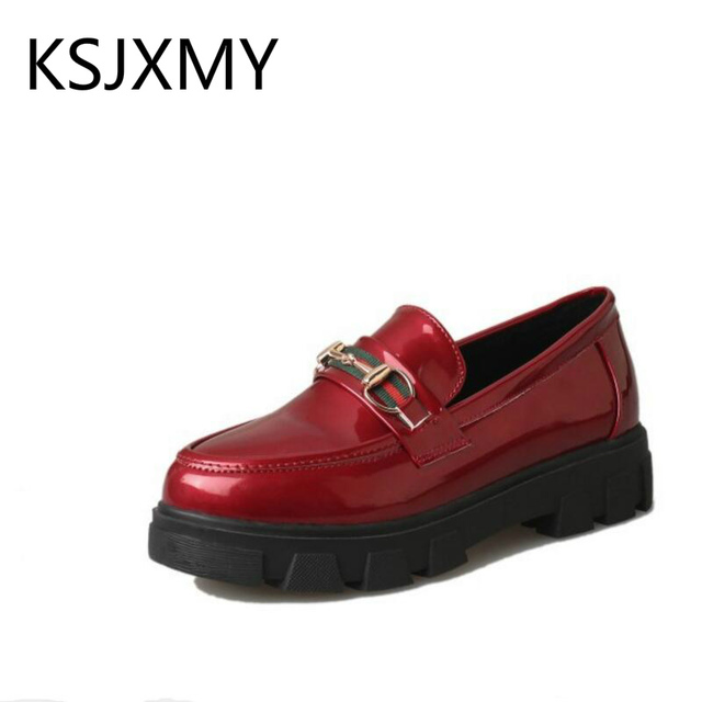8c2bb9da5fe96a women Round head shallow mouth Thick bottom Loose shoes Leather Non-slip  student Female casual oxfords low heels Single shoes