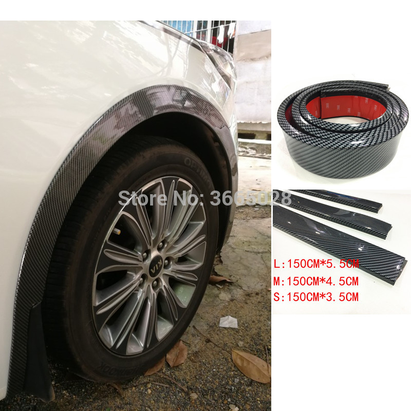 Universal Car Truck Carbon Fiber Rubber Wheel Eyebrow Protector Lip Sticker Trim Fender Flare Anti-scratch