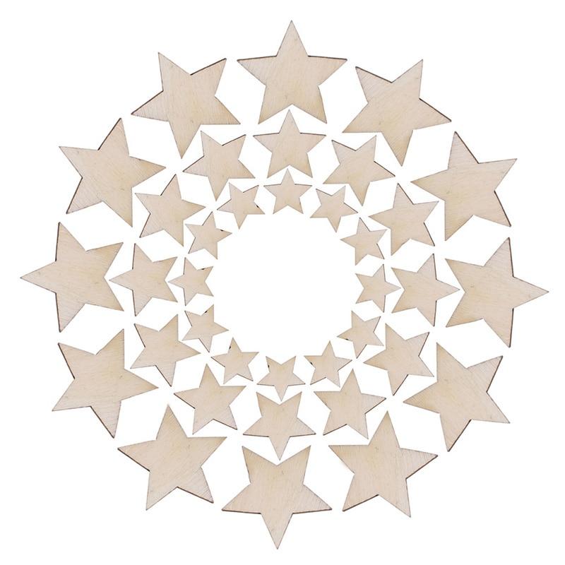 100pcs Wooden Mini Mixed Wood Star Embellishment Cardmaking Scrapbooking Crafts