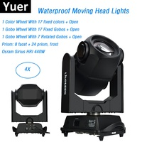 4XLot Double Prism Sharpy Beam 440W 20R Moving Head Spot Lights Beam 440W Beam 20R Stage Dj Disco Party Lights IP65 Outdoor Use
