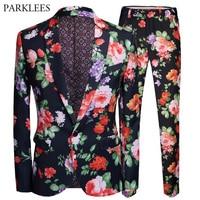 2 Piece Suit (Jacket+Pants) 2018 New Fashion Floral Print Single Breasted Men Suit Nightclub Bar Stage Suits Veste Costume Homme