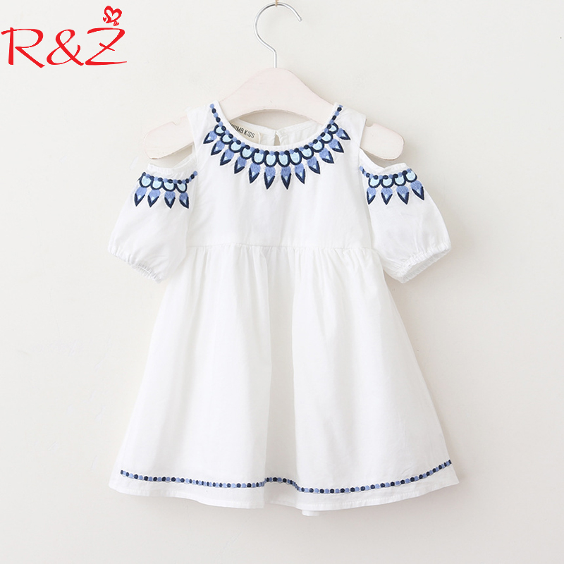 R&Z Baby Girls Dress 2018 Spring and Summer New Little Girl Embroidered Strapless Short-sleeved Cotton O-neck Dress Kids Clothes женское платье summer dress 2015cute o women dress