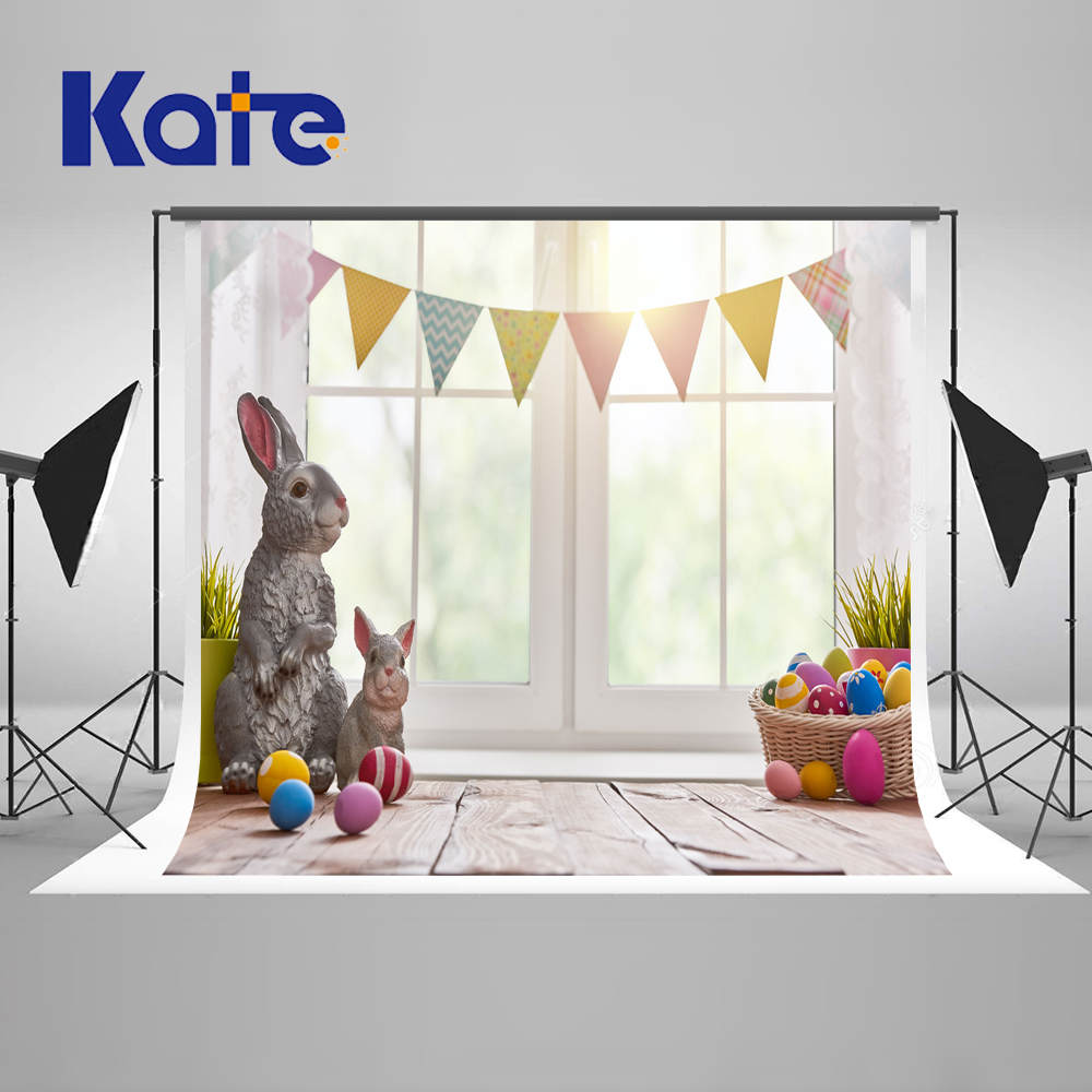 Kate5x7ft Easter Backdrop Backgroud Window Curtain Photography Background Rabbit Egg Wooden Background Photography Children