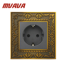 MVAVA EU European German Standard Wall Power Socket Bronzed Series EU Socket 86*90MM 16A Plug Wall Socket 100~250V Free Shipping