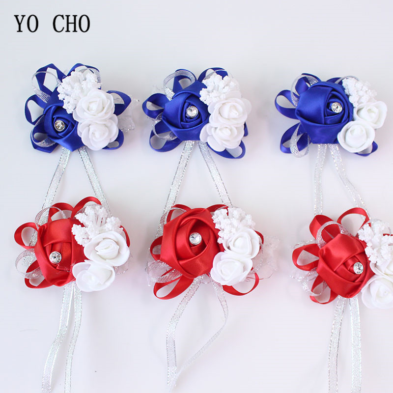 YO CHO Wrist Corsage Bridesmaid Sisters Hand Flowers Silk Artificial Bride Flowers White Wedding Dancing Party Decor Bridal Prom