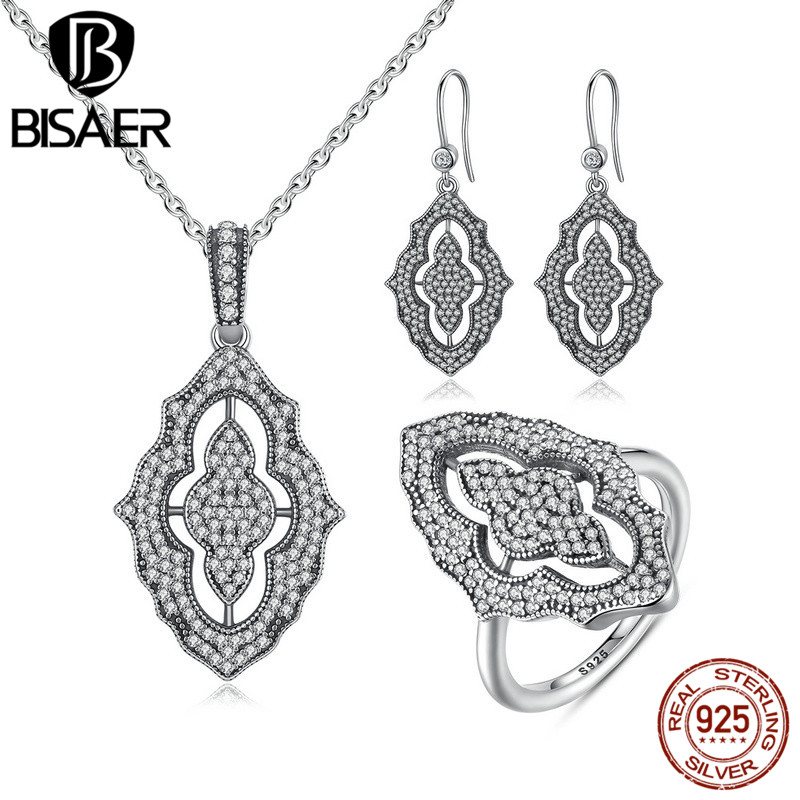 BISAER 100% 925 Sterling Silver Sparkling Lace Stunning Long Pendant Necklace Silver Jewelry Sets Sterling Silver Jewelry HPS012 джинсы tom tailor denim tom tailor denim to793emchjq0