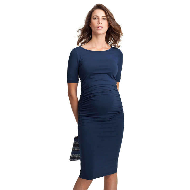 7cc5ca0f00c77 Summer Maternity Dress Pregnancy Clothes for Pregnant Women Knee-Length  Office Lady Elegant Business Dress
