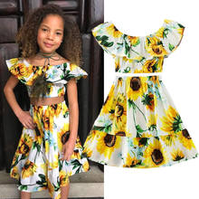 14cd4f078bfd 2Pcs Kids Baby Toddler Girl Sunflower Clothes Outfits Off Shoulder Crop Tops  + Skirt Summer Clothing Set