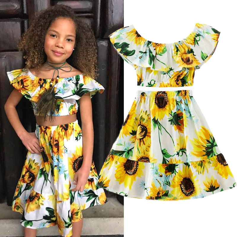 2Pcs Kids Baby Toddler Girl Sunflower Clothes Outfits Off Shoulder Crop Tops + Skirt Set