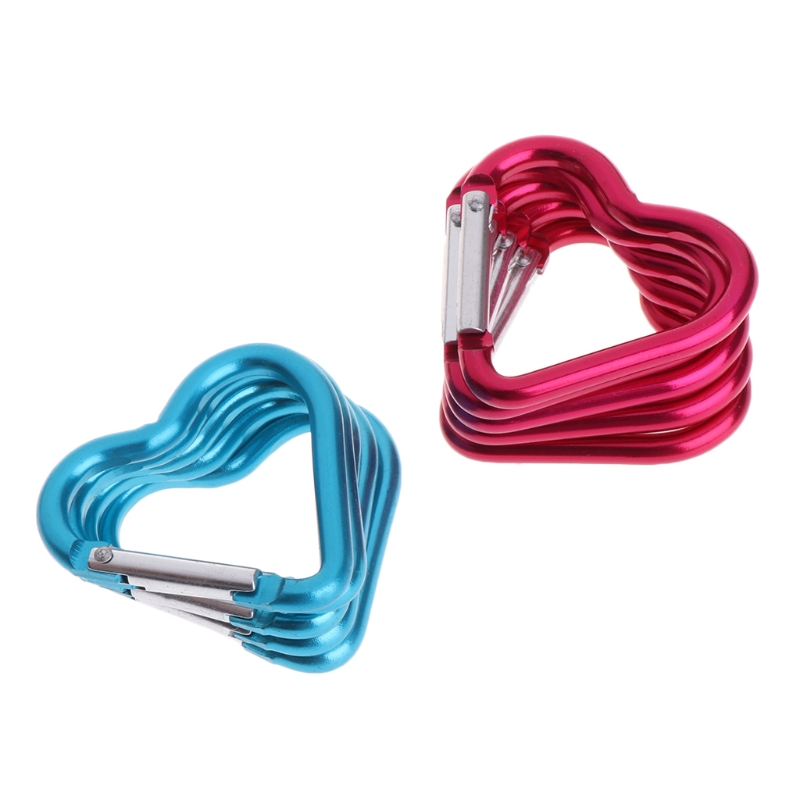 10Pcs Outdoor Ring Aluminum Heart KeyChain Hook Clip Climbing Camping Outdoor Color Random Delivery