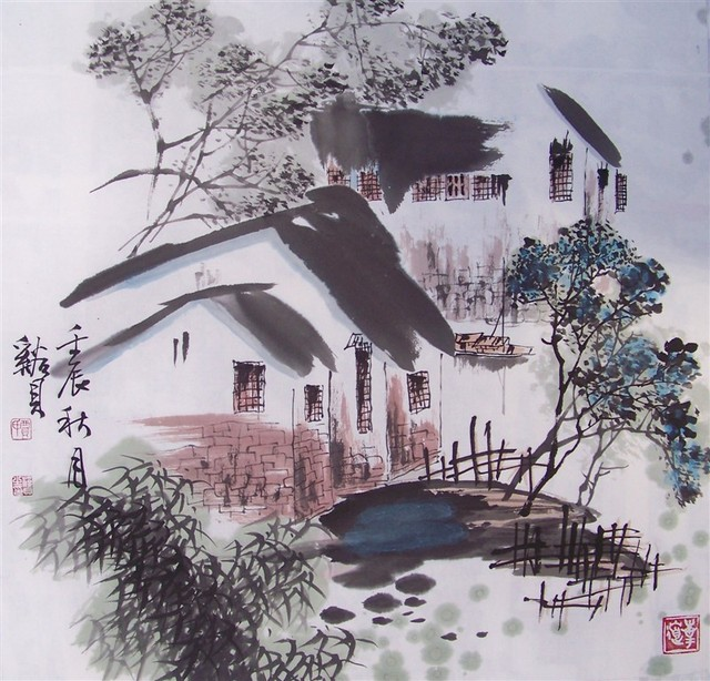 chinese painting art work on rice paper,no mounting and no wood frame
