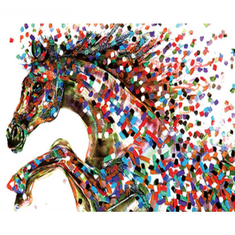 Painting By Numbers DIY Dropshipping 40x50 50x65cm A colored square horse  Animal Canvas Wedding Decoration Art picture Gift
