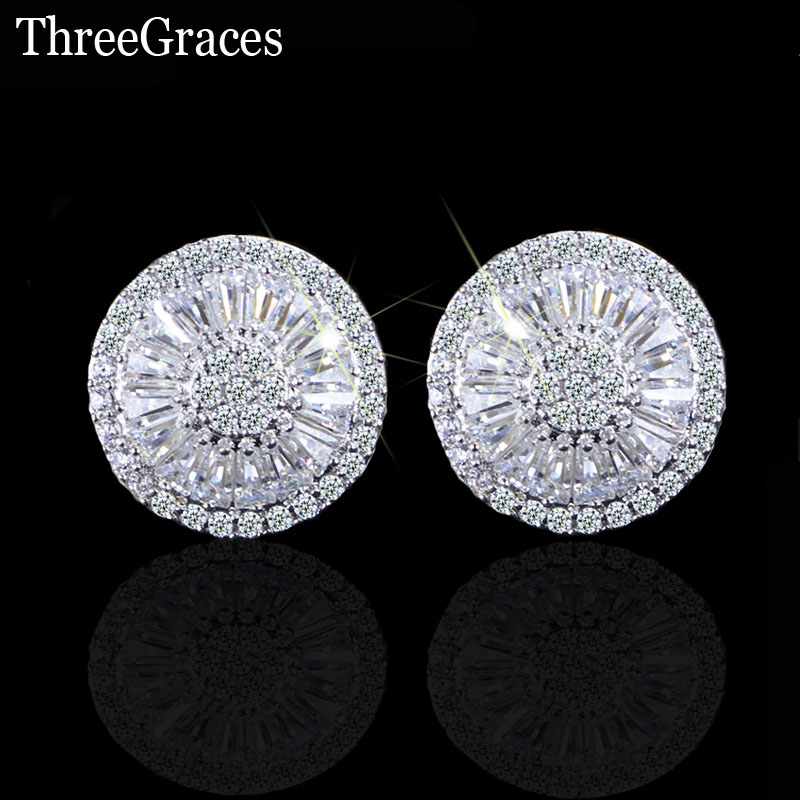 ThreeGraces Fashion Famous Brand Ladies CZ Jewelry Full Paved Cubic Zirconia Stone Big Round Stud Earrings